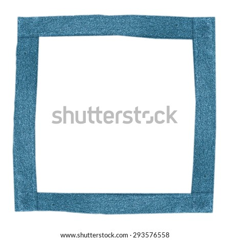 handmade blue leather square  frame isolated on white