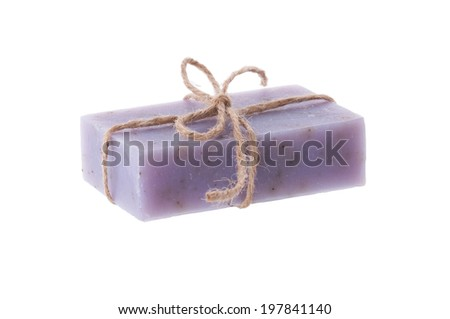 Handmade blueberry soap isolated on white background - stock photo