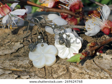 Handmade bone earrings with apricot blossom in spring on the nature background - stock photo