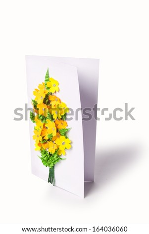 handmade card on a white background - stock photo