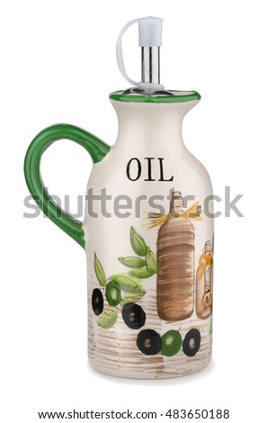 Handmade ceramics olive oil jug isolated on white