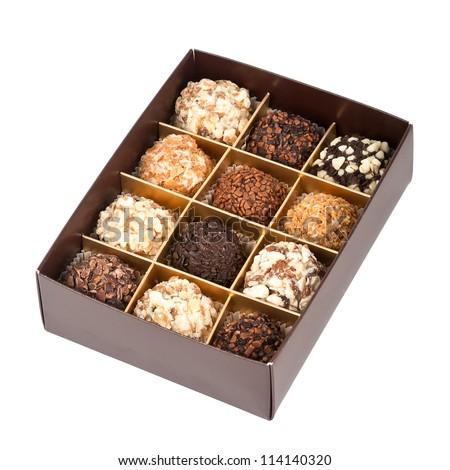 Handmade chocolates box isolated on white background - stock photo
