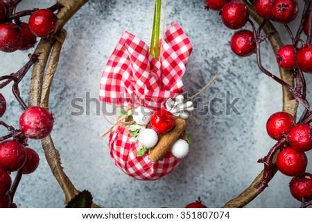 handmade Christmas paper decoration background - stock photo