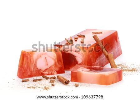 Handmade cinnamon Soap closeup.Spa products - stock photo
