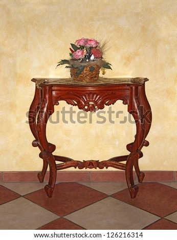 Handmade classic wooden dresser with flowers - stock photo
