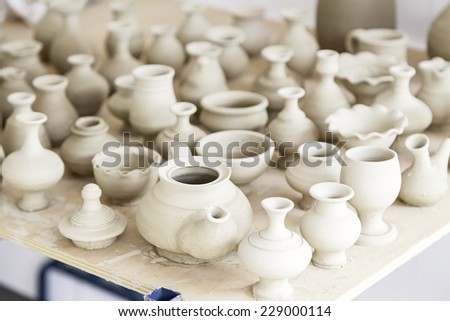 Handmade clay jars, containers detail about handmade, art and tradition - stock photo