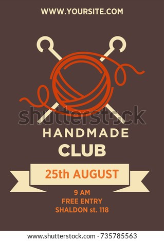 Handmade club invitation poster template art stock illustration handmade club invitation poster template for art and craft workshop or exhibition event on knitting or stopboris