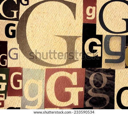 Handmade collage of newspaper and magazine clippings with letter G on old paper background  - stock photo