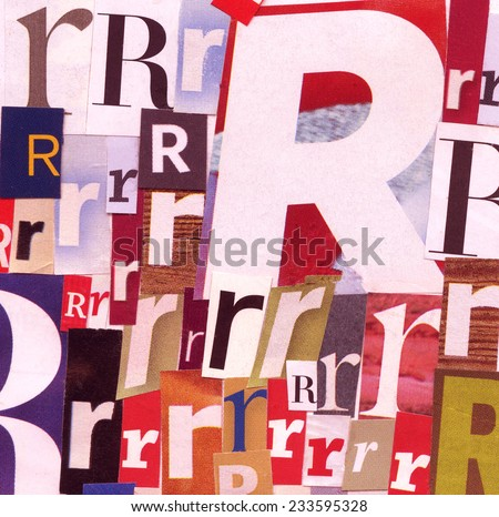 Handmade collage of newspaper and magazine clippings with letter R  - stock photo