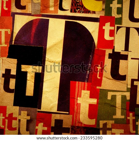 Handmade collage of newspaper and magazine clippings with letter T on old creased paper background   - stock photo