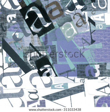 Handmade collage of newspaper and magazine clippings with mixed letters - stock photo