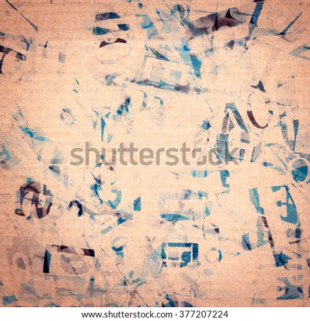 Handmade collage of newspaper and magazine paper clippings on recycled paper background - stock photo