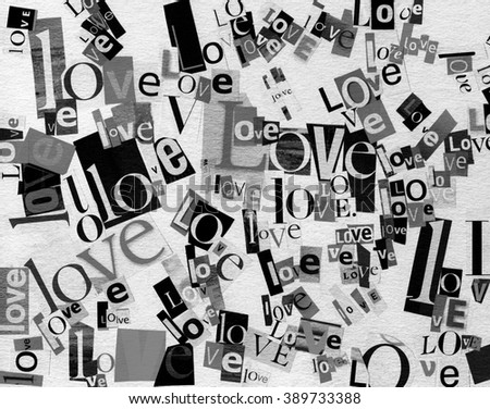 Handmade collage of newspaper and magazine paper clippings saying 'Love' on paper background. - stock photo