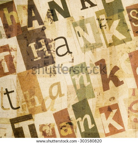 Handmade collage of newspaper and magazine paper clippings saying ' Thanks' on paper background - stock photo