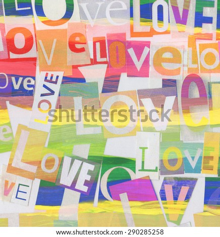Handmade colorful collage with newspaper and magazine clippings on watercolor painted background saying 'love' - stock photo