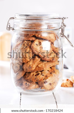 handmade cookies in widemouthed glass jar - stock photo