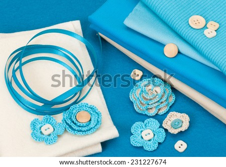 Handmade Crochet Flowers. Baby Cord, Corduroy And Wool Felt Textile. - stock photo