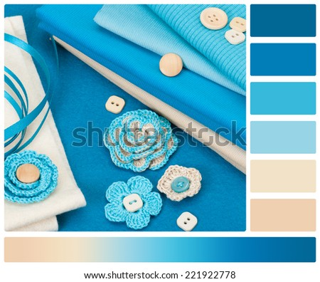 Handmade Crochet Flowers. Baby Cord, Corduroy And Wool Felt Textile. Palette With Complimentary Colour Swatches. - stock photo