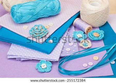 Handmade Crochet Flowers. Cotton, Baby Cord And Wool Felt Textile. - stock photo