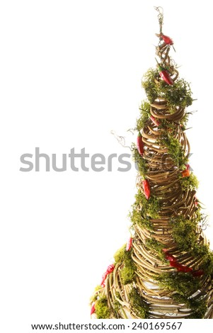 handmade design New Year tree isolated on white background