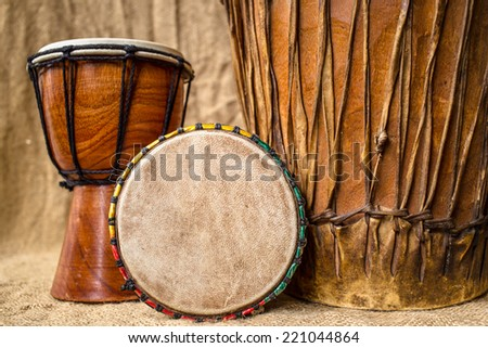 handmade djembe drums - stock photo