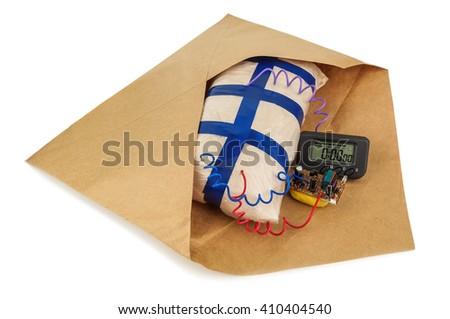 handmade explosives in an envelope on white background - stock photo