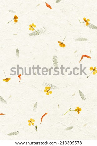 Handmade flower petal paper texture background - stock photo