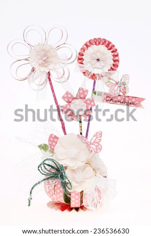 handmade flowers made from a variety of paper  - stock photo