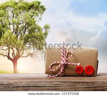 Handmade gift box with red twine cord on a fantasy landscape  - stock photo