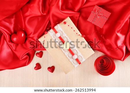 Handmade gift on Valentine Day, close-up