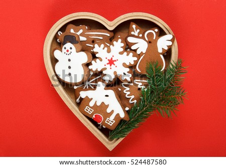 Handmade gingerbread cookies gift for Christmas