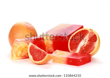 Handmade grapefruit Soap closeup.Spa products - stock photo