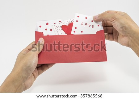 handmade greeting card for love - stock photo