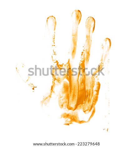 Handmade hand palm smeared oil paint print isolated over the white background - stock photo