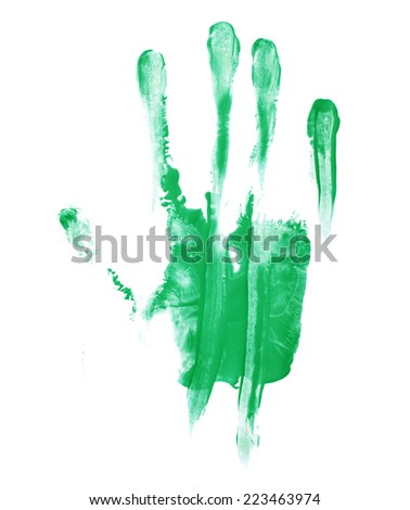 Handmade hand palm smeared oil paint print isolated over the white background