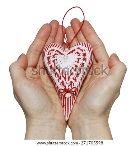 Handmade Heart in Palms on Mother's Day - stock photo
