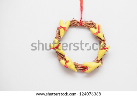 handmade hearts  are in the form of a circle - stock photo