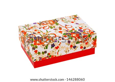 Handmade japanese pattern gift box on white background - stock photo