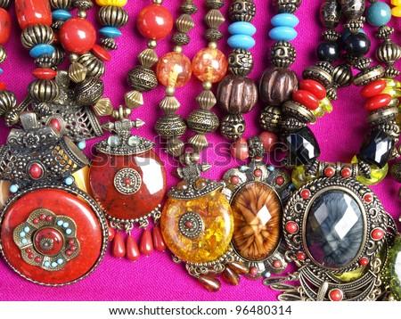 Handmade Jewelry Necklace Hmong. Doi Pui Thailand. - stock photo