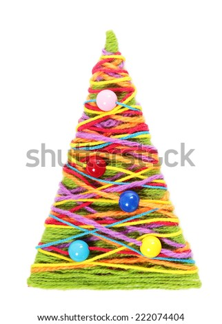 Handmade knitted Christmas tree on white background - stock photo