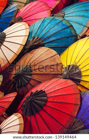 Handmade laos umbrella - stock photo