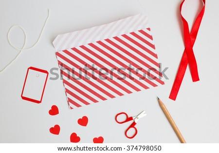 Handmade love letter  for valentine day on white background. - stock photo
