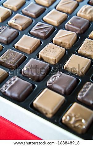 Handmade luxury chocolate in a box - stock photo