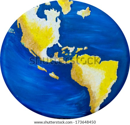 Handmade map of the world showing specially the American Continent from North to South - stock photo