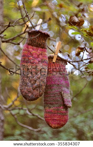 Handmade mittens hanging on a tree