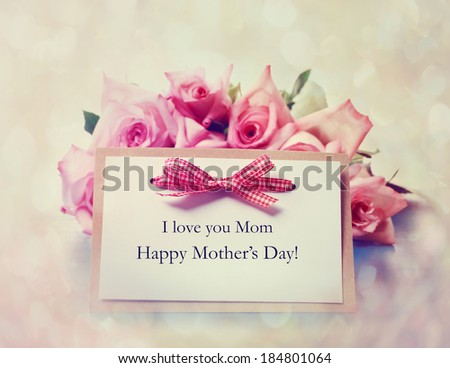 Handmade Mothers Day greeting card with pink roses - stock photo