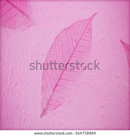 handmade mulberry paper background with leaves