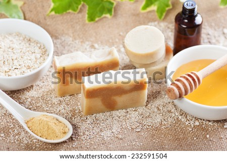 Handmade natural soap - stock photo