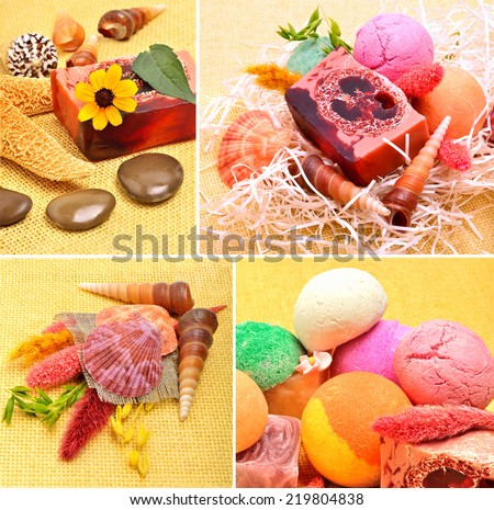 Handmade natural soap, shells and pebbles, spa, collage,  - stock photo
