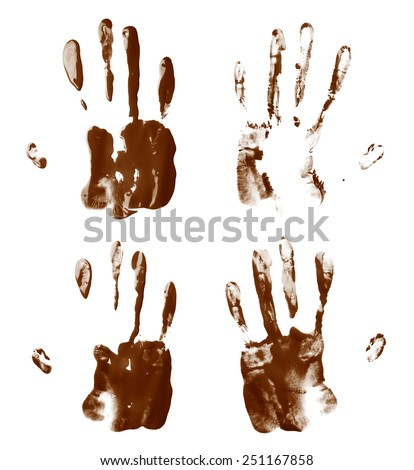 Handmade oil paint hand palm prints isolated over the white background, set of four different images - stock photo